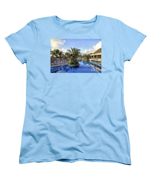 Women's T-Shirt (Standard Cut) featuring the photograph Early Morning At The Pool by Teresa Zieba