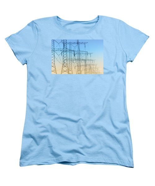 Electricity Pylons Standing In A Row Women's T-Shirt (Standard Cut) by Nick  Biemans