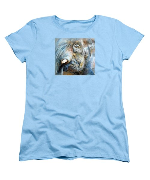 Women's T-Shirt (Standard Cut) featuring the painting Elephant Eye by Jieming Wang