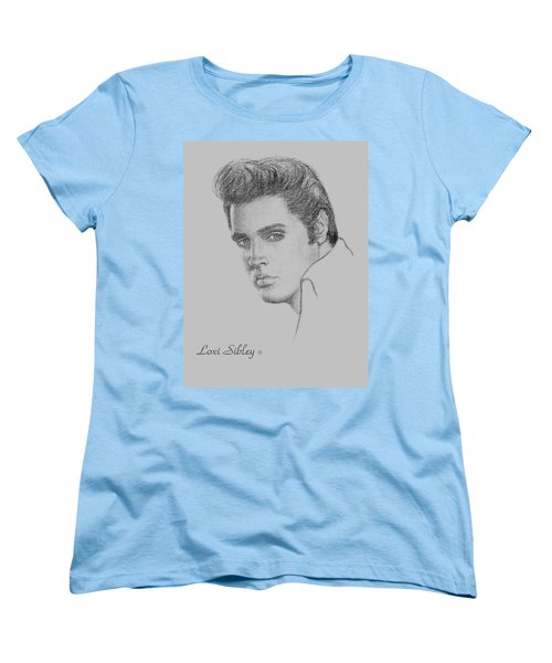 Women's T-Shirt (Standard Cut) featuring the drawing Elvis In Charcoal by Loxi Sibley