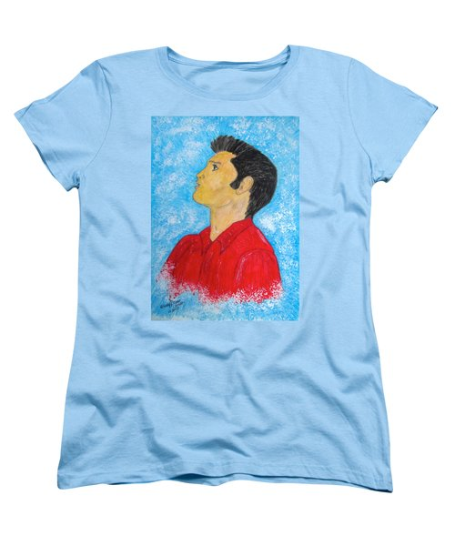 Elvis Presley Singing Women's T-Shirt (Standard Cut) by Kathy Marrs Chandler