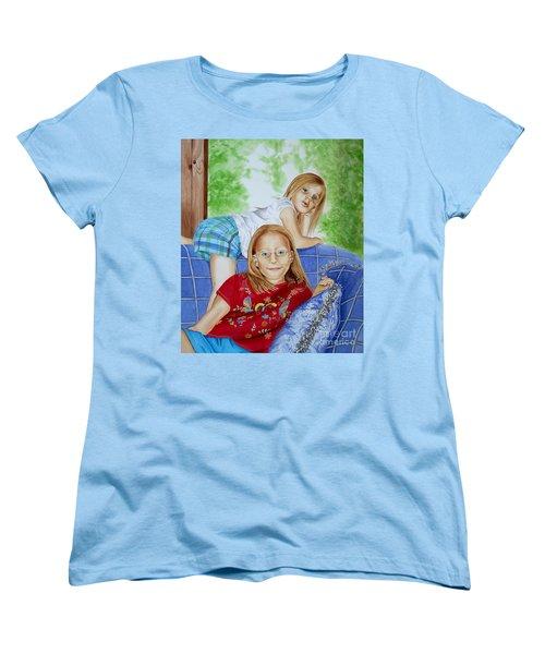Emi And Mackenzie Women's T-Shirt (Standard Cut) by Debbie Hart