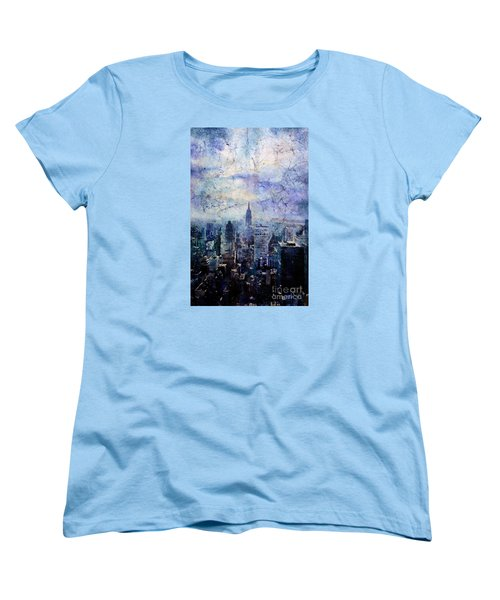 Empire State Building In Blue Women's T-Shirt (Standard Cut) by Ryan Fox
