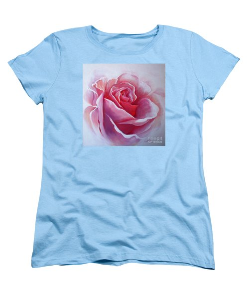 Women's T-Shirt (Standard Cut) featuring the painting English Rose by Sandra Phryce-Jones