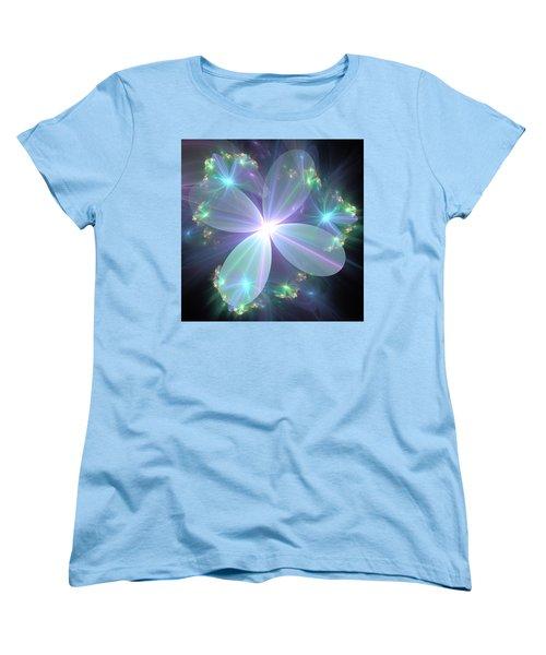 Ethereal Flower In Blue Women's T-Shirt (Standard Cut) by Svetlana Nikolova
