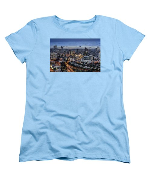 Women's T-Shirt (Standard Cut) featuring the photograph Evening City Lights by Ron Shoshani