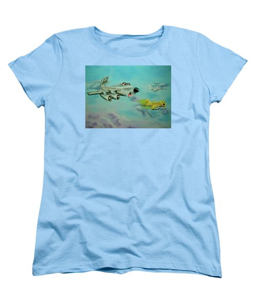 Women's T-Shirt (Standard Cut) featuring the painting Extreme Airline Mergers by Thomas J Herring