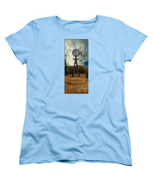 Women's T-Shirt (Standard Cut) featuring the photograph Face The Wind - Windmill Photography Art by Ella Kaye Dickey