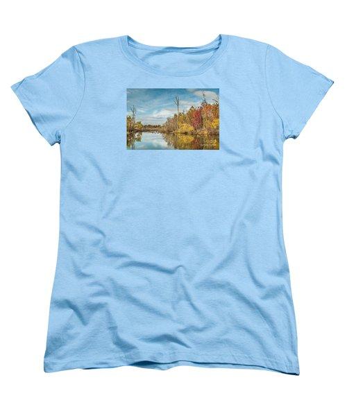 Women's T-Shirt (Standard Cut) featuring the photograph Fall Pond by Debbie Green