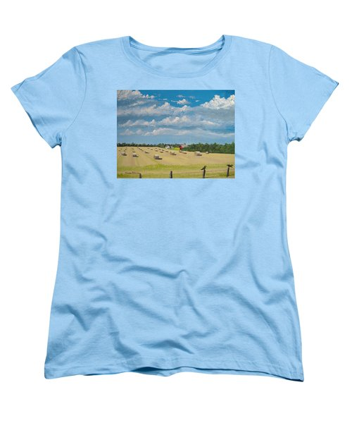 Women's T-Shirt (Standard Cut) featuring the painting Fall Rounds by Norm Starks
