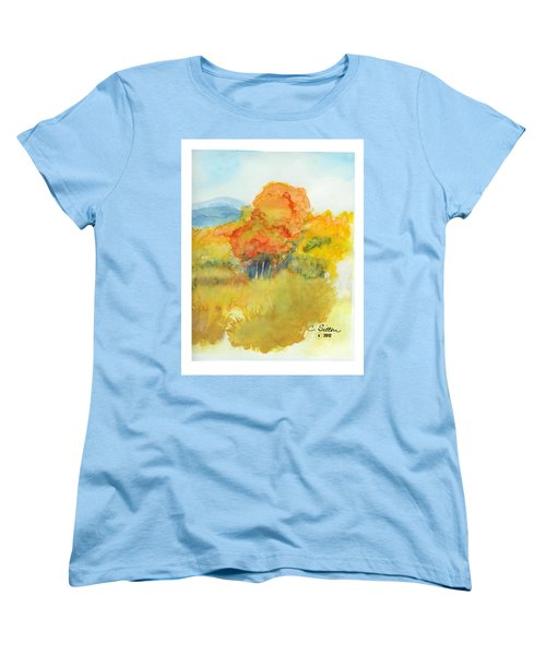 Women's T-Shirt (Standard Cut) featuring the painting Fall Trees 2 by C Sitton