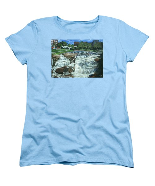 Women's T-Shirt (Standard Cut) featuring the painting Falls River Park by Bryan Bustard