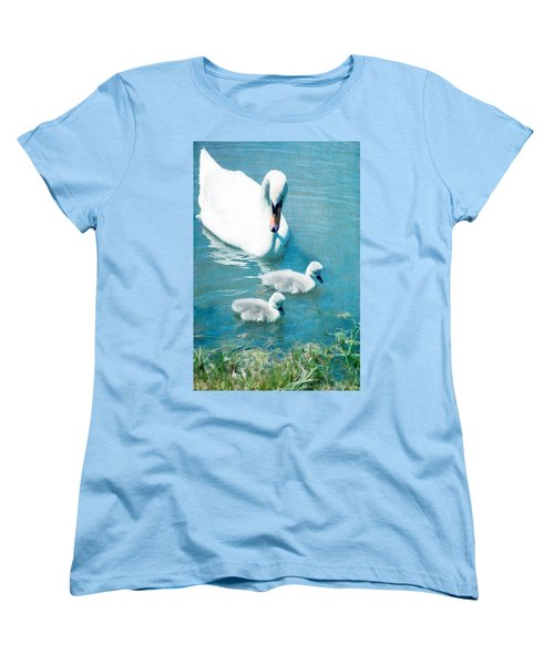 Family Of Swans At The Market Common Women's T-Shirt (Standard Cut) by Vizual Studio