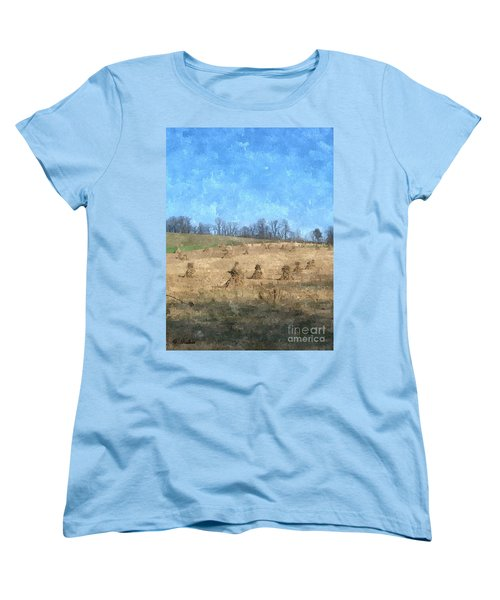 Women's T-Shirt (Standard Cut) featuring the painting Farm Days 2 by Sara  Raber