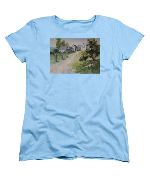 Women's T-Shirt (Standard Cut) featuring the painting Farm On Orchard Hill by Joy Nichols
