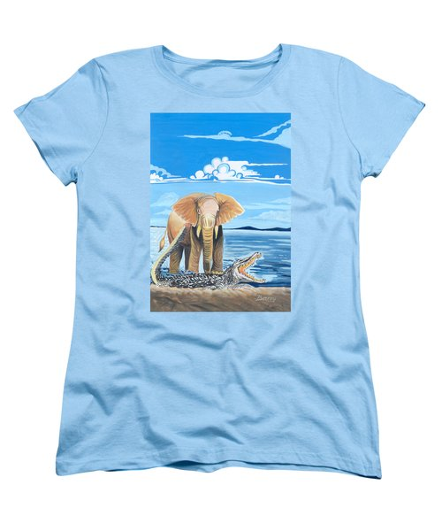 Women's T-Shirt (Standard Cut) featuring the painting Faune D'afrique Centrale 02 by Emmanuel Baliyanga