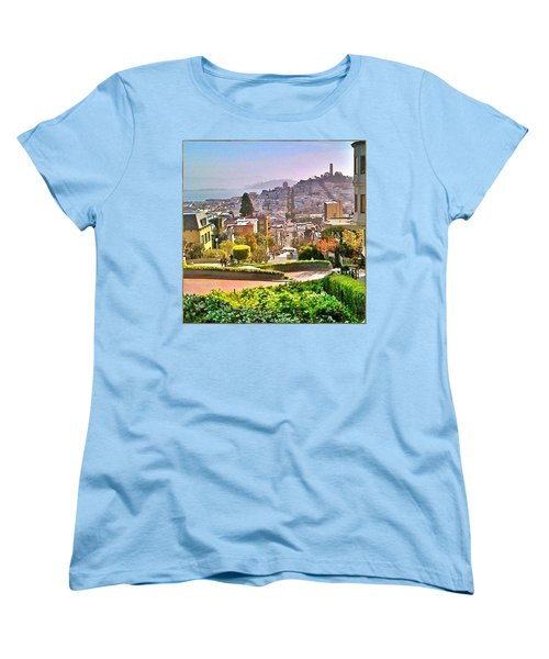 Favorite Places Lombard Street San Francisco California Women's T-Shirt (Standard Cut) by Anna Porter