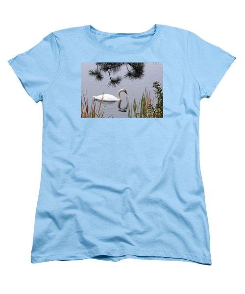 Feathered Friend Along The Shoreline Women's T-Shirt (Standard Cut) by Cedric Hampton