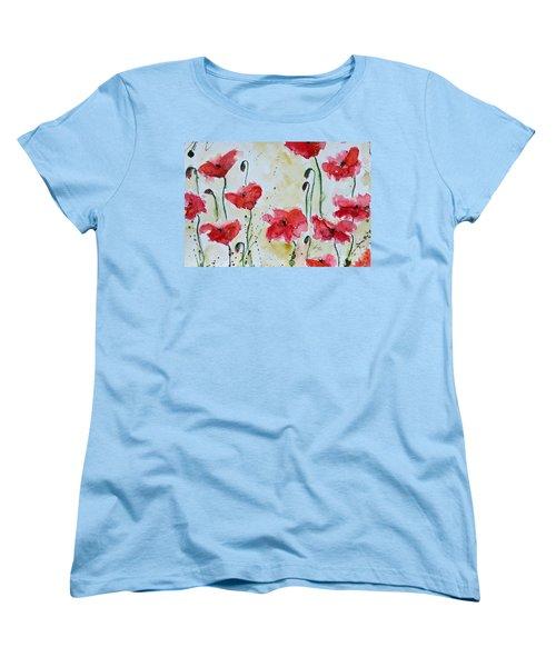 Feel The Summer 1 - Poppies Women's T-Shirt (Standard Cut) by Ismeta Gruenwald