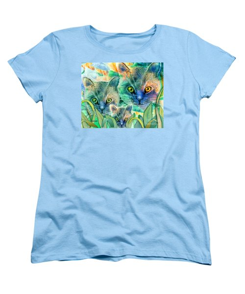 Women's T-Shirt (Standard Cut) featuring the painting Feline Family by Teresa Ascone
