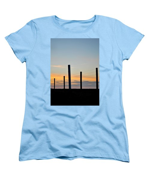 Fence Posts At Sunset Women's T-Shirt (Standard Cut) by Wayne King