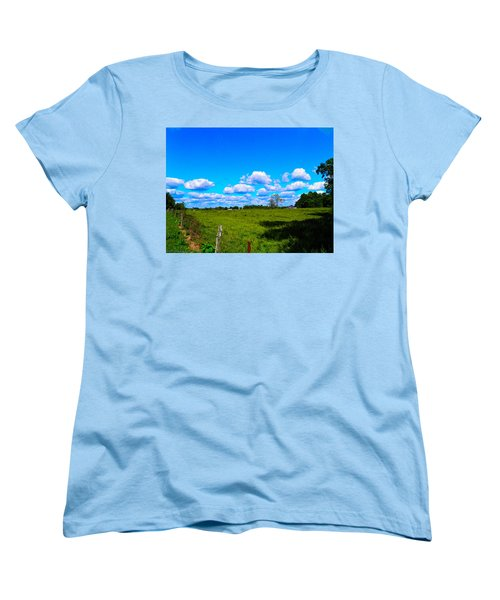 Fence Row And Clouds Women's T-Shirt (Standard Cut) by Nick Kirby