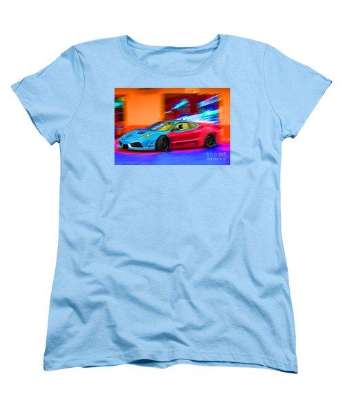 Women's T-Shirt (Standard Cut) featuring the photograph Ferrari Baby Blue by Gunter Nezhoda