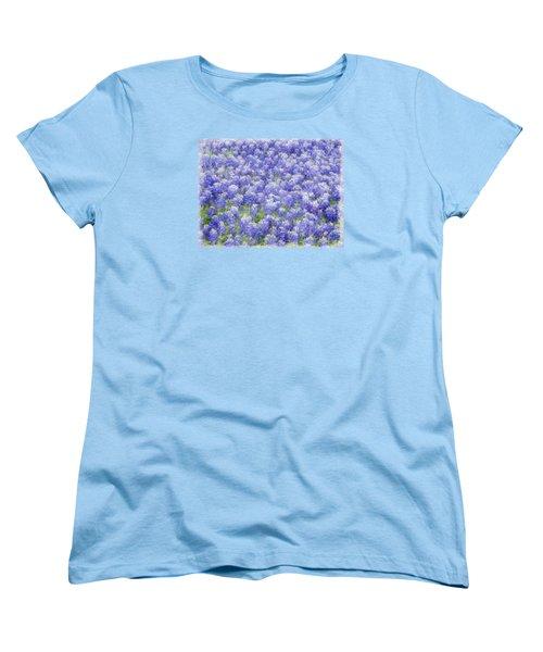 Women's T-Shirt (Standard Cut) featuring the photograph Field Of Bluebonnets by Kathy Churchman
