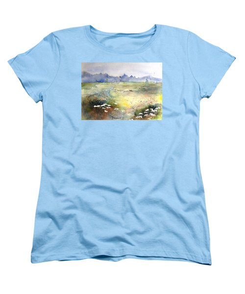 Women's T-Shirt (Standard Cut) featuring the painting Field Of Daisies by Marilyn Zalatan
