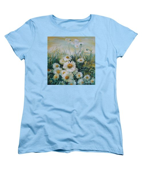 Women's T-Shirt (Standard Cut) featuring the painting Field Of Flowers by Elena Oleniuc