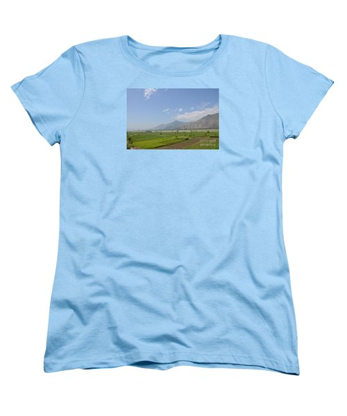 Women's T-Shirt (Standard Cut) featuring the photograph Fields Mountains Sky And A River Swat Valley Pakistan by Imran Ahmed
