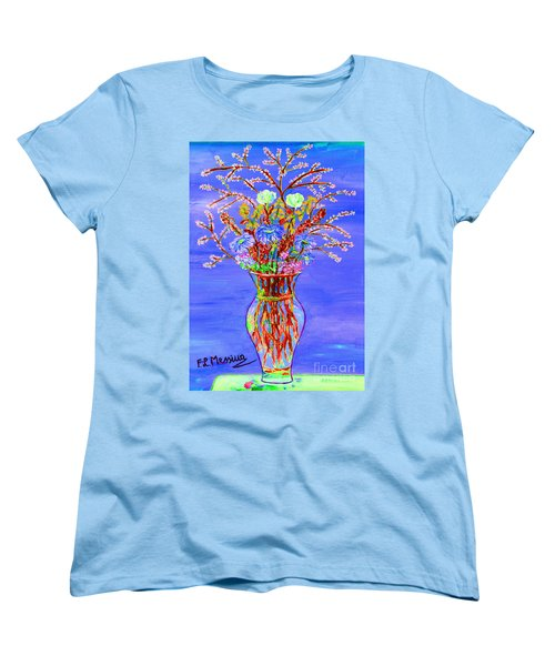 Women's T-Shirt (Standard Cut) featuring the painting Fiori by Loredana Messina