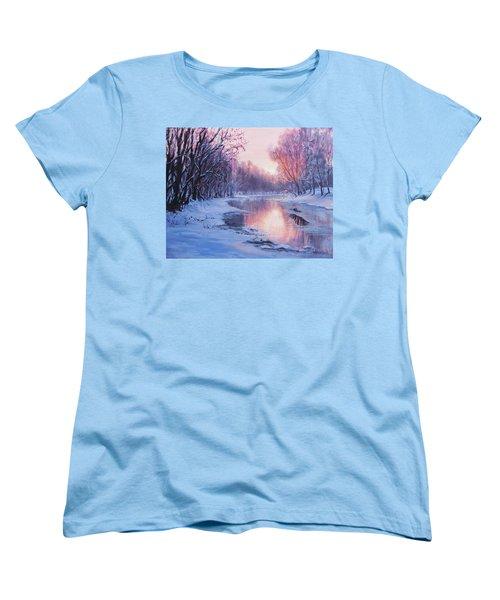 Women's T-Shirt (Standard Cut) featuring the painting First Light by Karen Ilari