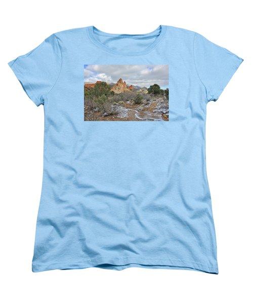 Women's T-Shirt (Standard Cut) featuring the photograph First Snow At Garden Of The Gods by Diane Alexander