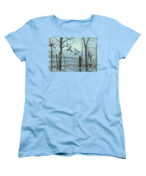 Women's T-Shirt (Standard Cut) featuring the painting First Snow by Mike Brown