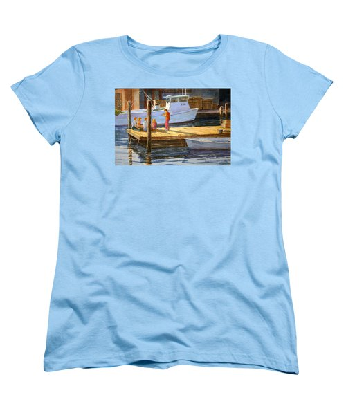 Women's T-Shirt (Standard Cut) featuring the painting Fish Tales At Cortez by Roger Rockefeller