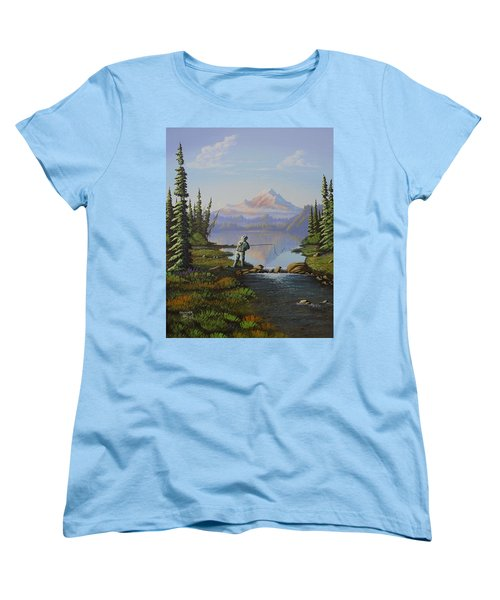 Fishing The High Lakes Women's T-Shirt (Standard Cut) by Richard Faulkner