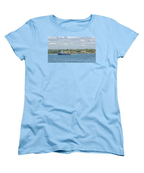 Women's T-Shirt (Standard Cut) featuring the photograph Fishing Trawler Coming Into Port by Jane Luxton