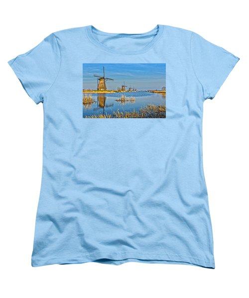 Five Windmills At Kinderdijk Women's T-Shirt (Standard Cut) by Frans Blok