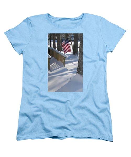 Flag Over Morning Snow Women's T-Shirt (Standard Cut) by Pamela Hyde Wilson