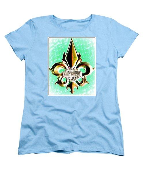 Women's T-Shirt (Standard Cut) featuring the photograph Fleurs De Lys And Harley Davidson Logo Bronze Green by Danielle  Parent