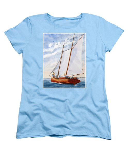 Women's T-Shirt (Standard Cut) featuring the painting Florida Catboat At Sea by Roger Rockefeller