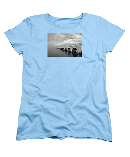 Florida Keys Seven Mile Bridge Black And White Women's T-Shirt (Standard Cut) by Photographic Arts And Design Studio