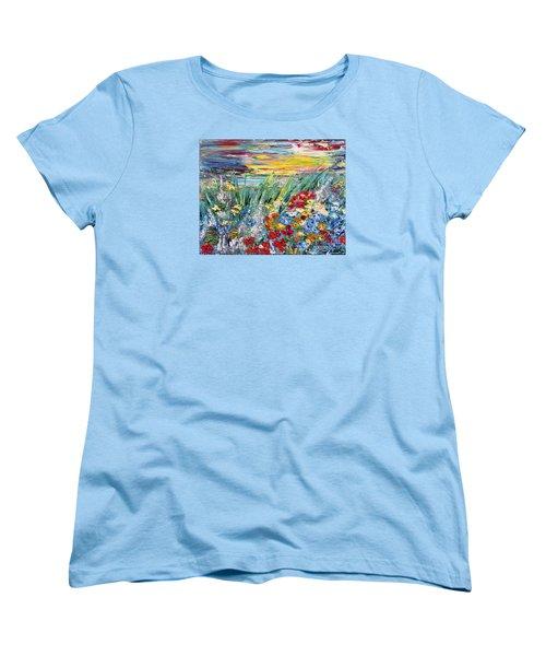 Flower Field Women's T-Shirt (Standard Cut) by Teresa Wegrzyn