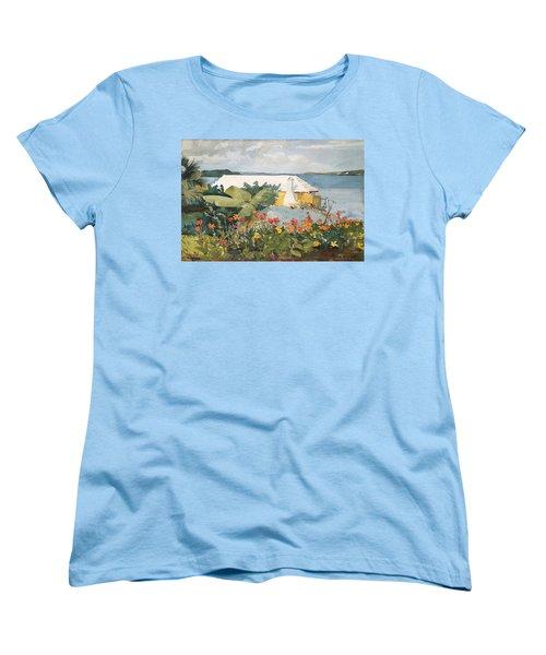 Flower Garden And Bungalow Women's T-Shirt (Standard Cut) by Celestial Images