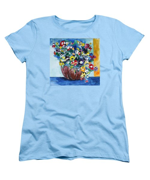 Women's T-Shirt (Standard Cut) featuring the painting Flower Jubilee by Esther Newman-Cohen