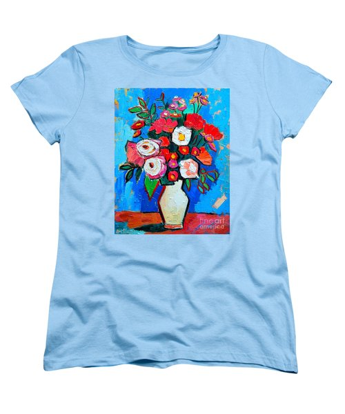 Flowers And Colors Women's T-Shirt (Standard Cut) by Ana Maria Edulescu