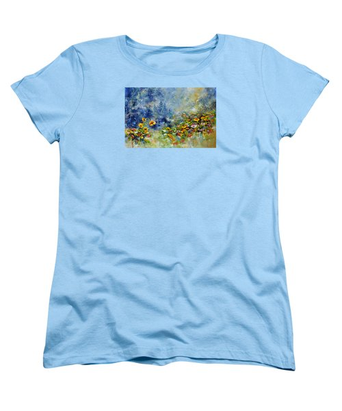 Women's T-Shirt (Standard Cut) featuring the painting Flowers In The Fog by Craig T Burgwardt