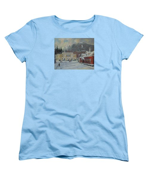 Flurries Over Mount Greylock Women's T-Shirt (Standard Cut) by Len Stomski