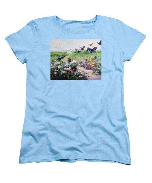 Women's T-Shirt (Standard Cut) featuring the painting Flutterby Dreams by Karen Ilari